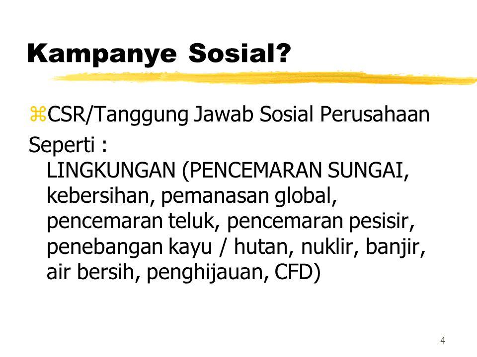 Kampanye Sosial? zCSR/Tanggung Jawab Sosial Perusahaan Seperti : LINGKUNGAN (PENCEMARAN SUNGAI, kebersihan, pemanasan global, pencemaran teluk, pencem