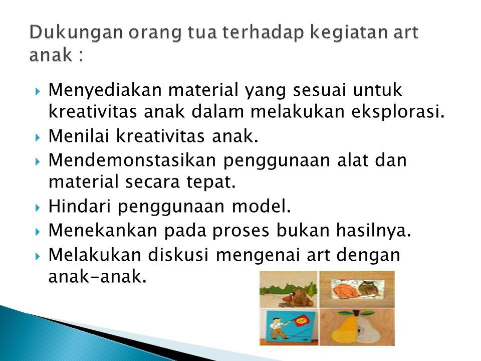  Menyediakan material yang sesuai untuk kreativitas anak dalam melakukan eksplorasi.  Menilai kreativitas anak.  Mendemonstasikan penggunaan alat d