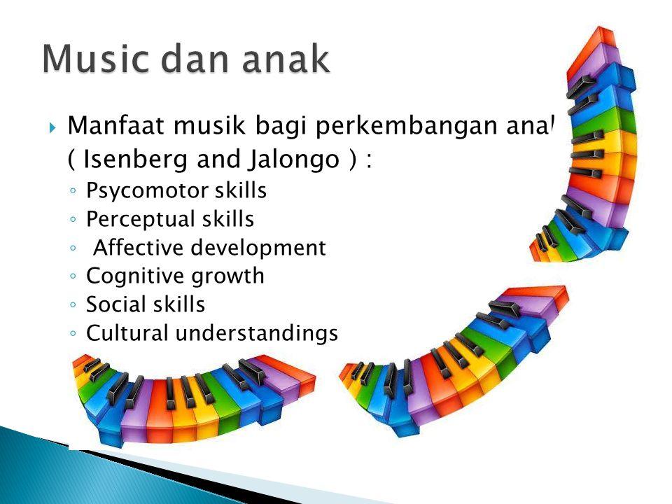  Manfaat musik bagi perkembangan anak ( Isenberg and Jalongo ) : ◦ Psycomotor skills ◦ Perceptual skills ◦ Affective development ◦ Cognitive growth ◦