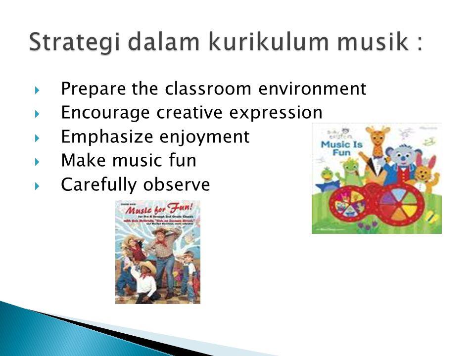  Prepare the classroom environment  Encourage creative expression  Emphasize enjoyment  Make music fun  Carefully observe