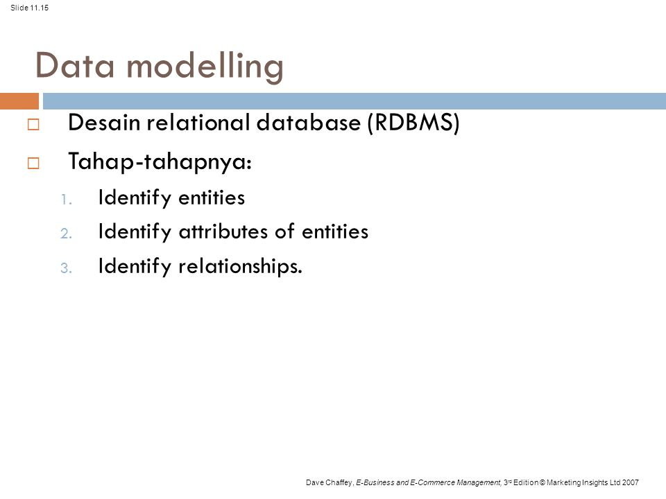 Slide 11.15 Dave Chaffey, E-Business and E-Commerce Management, 3 rd Edition © Marketing Insights Ltd 2007 Data modelling  Desain relational database