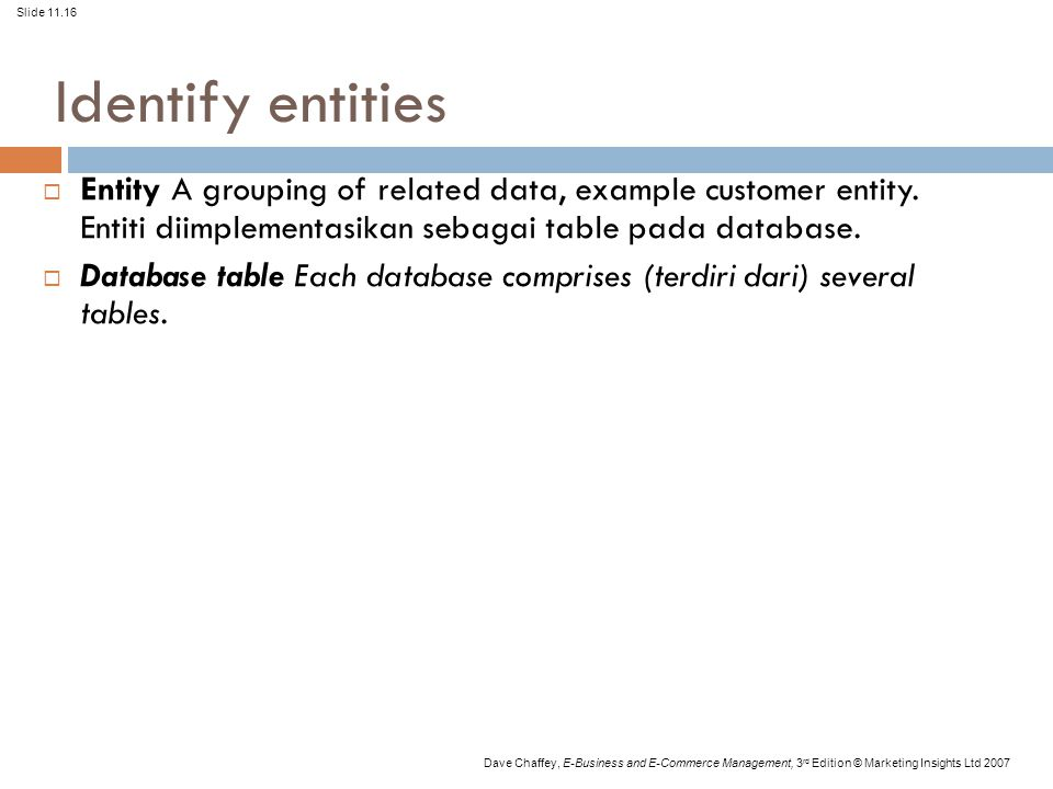 Slide 11.16 Dave Chaffey, E-Business and E-Commerce Management, 3 rd Edition © Marketing Insights Ltd 2007 Identify entities  Entity A grouping of re