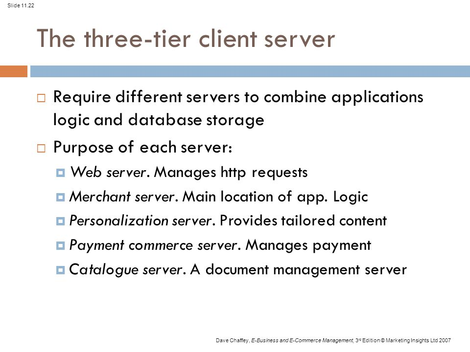 Slide 11.22 Dave Chaffey, E-Business and E-Commerce Management, 3 rd Edition © Marketing Insights Ltd 2007 The three-tier client server  Require diff
