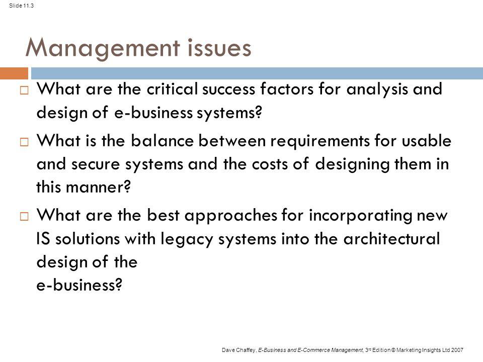 Slide 11.3 Dave Chaffey, E-Business and E-Commerce Management, 3 rd Edition © Marketing Insights Ltd 2007 Management issues  What are the critical su