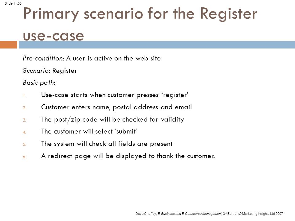 Slide 11.33 Dave Chaffey, E-Business and E-Commerce Management, 3 rd Edition © Marketing Insights Ltd 2007 Primary scenario for the Register use-case