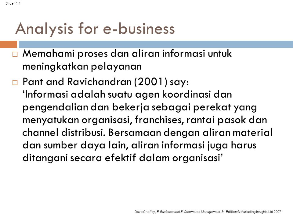 Slide 11.4 Dave Chaffey, E-Business and E-Commerce Management, 3 rd Edition © Marketing Insights Ltd 2007 Analysis for e-business  Memahami proses da