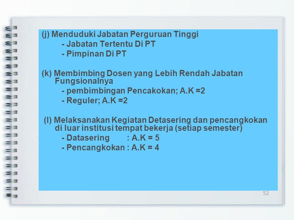 (i) Orasi Ilmiah: - Pidato Ilmiah - Forum Kegiatan Tradisi Akademik - Diesnatalis - Wisuda Lulusan - A.K = 5 Batas maksimal : - 2 PERGURUAN TINGGI/sem