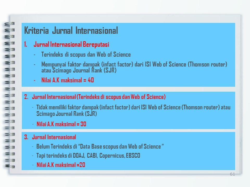 60 Jurnal Ilmiah Internasional Substansi satu masalah dalam satu bidang ilmu Memenuhi kaidah ilmiah dan etika keilmuan yang utuh (rumusan masalah, pem