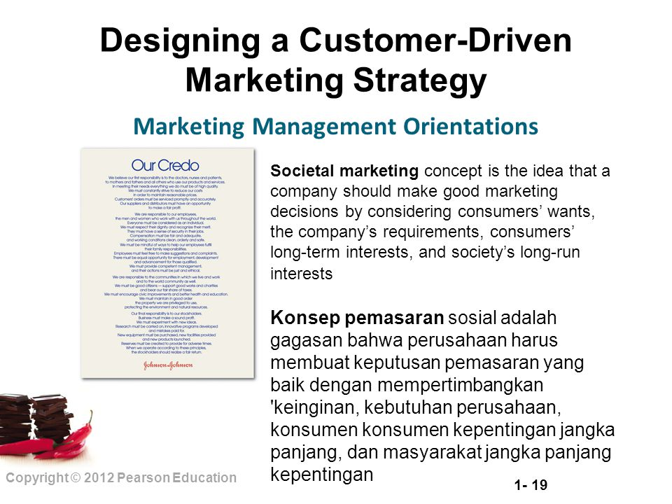 1- 19 Copyright © 2012 Pearson Education Designing a Customer-Driven Marketing Strategy Marketing Management Orientations Societal marketing concept i