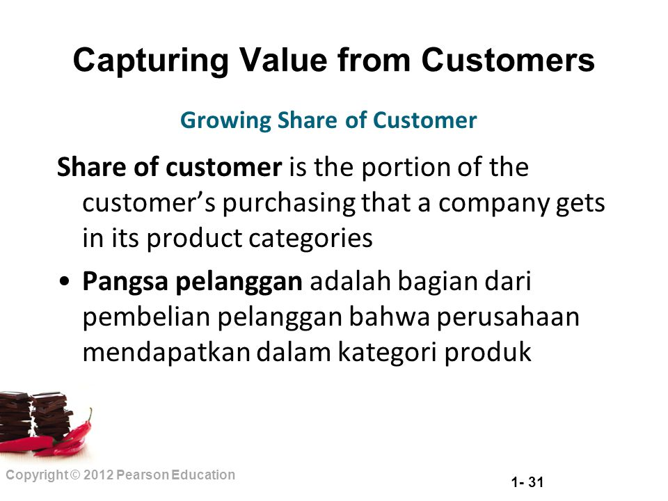 1- 31 Copyright © 2012 Pearson Education Capturing Value from Customers Share of customer is the portion of the customer's purchasing that a company g