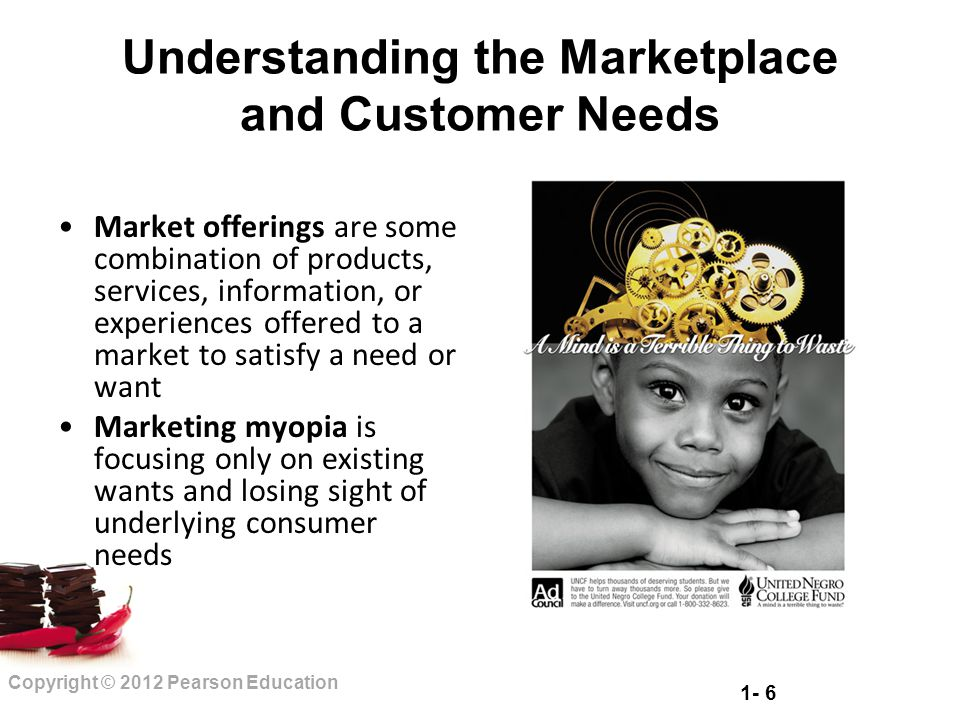 1- 6 Copyright © 2012 Pearson Education Understanding the Marketplace and Customer Needs Market offerings are some combination of products, services,