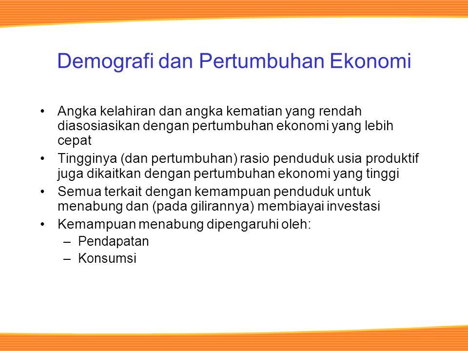 Demografi dan Pertumbuhan Ekonomi Angka kelahiran dan angka kematian yang rendah diasosiasikan dengan pertumbuhan ekonomi yang lebih cepat Tingginya (