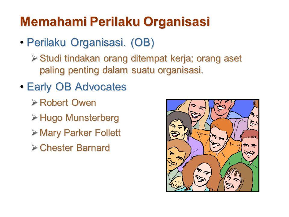 Memahami Perilaku Organisasi Perilaku Organisasi. (OB)Perilaku Organisasi. (OB)  Studi tindakan orang ditempat kerja; orang aset paling penting dalam
