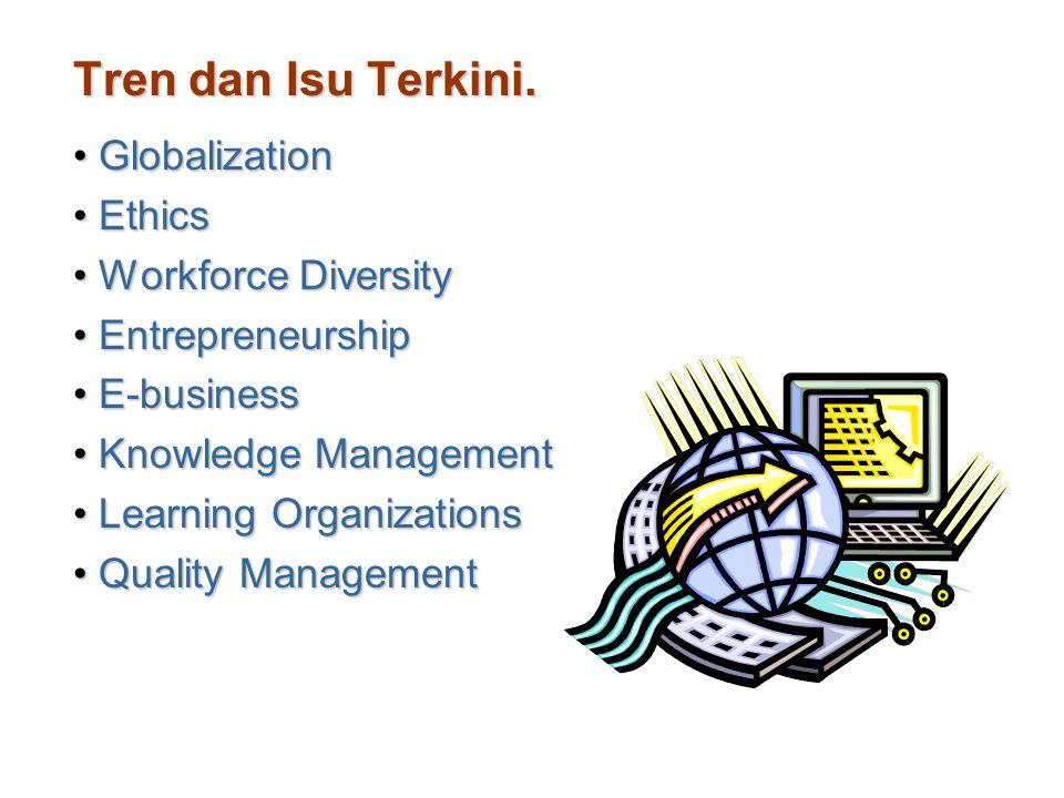 Tren dan Isu Terkini. GlobalizationGlobalization EthicsEthics Workforce DiversityWorkforce Diversity EntrepreneurshipEntrepreneurship E-businessE-busi