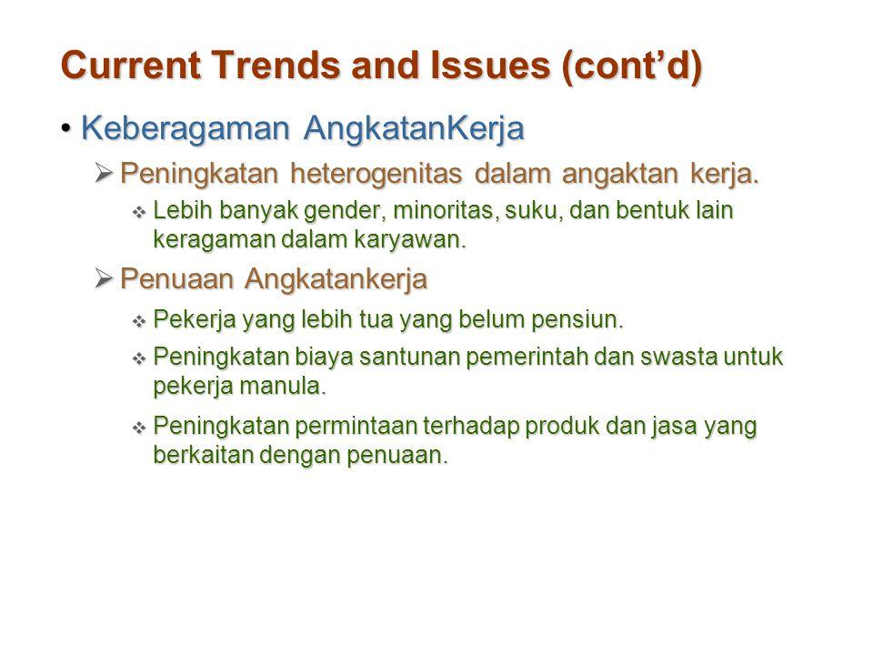 Current Trends and Issues (cont'd) Keberagaman AngkatanKerjaKeberagaman AngkatanKerja  Peningkatan heterogenitas dalam angaktan kerja.  Lebih banyak