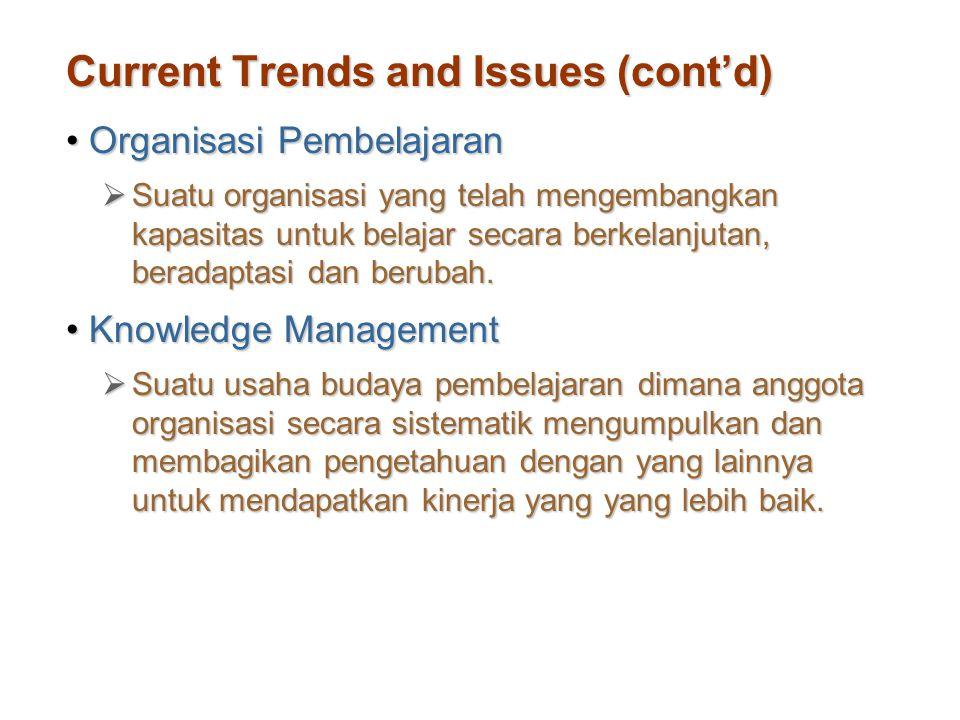 Current Trends and Issues (cont'd) Organisasi PembelajaranOrganisasi Pembelajaran  Suatu organisasi yang telah mengembangkan kapasitas untuk belajar