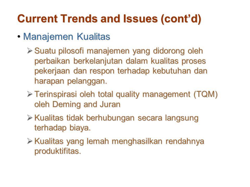 Current Trends and Issues (cont'd) Manajemen KualitasManajemen Kualitas  Suatu pilosofi manajemen yang didorong oleh perbaikan berkelanjutan dalam ku