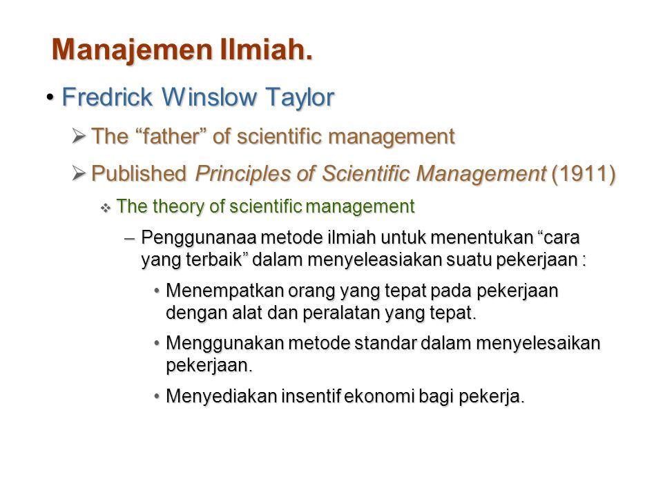 "Manajemen Ilmiah. Fredrick Winslow TaylorFredrick Winslow Taylor  The ""father"" of scientific management  Published Principles of Scientific Manageme"