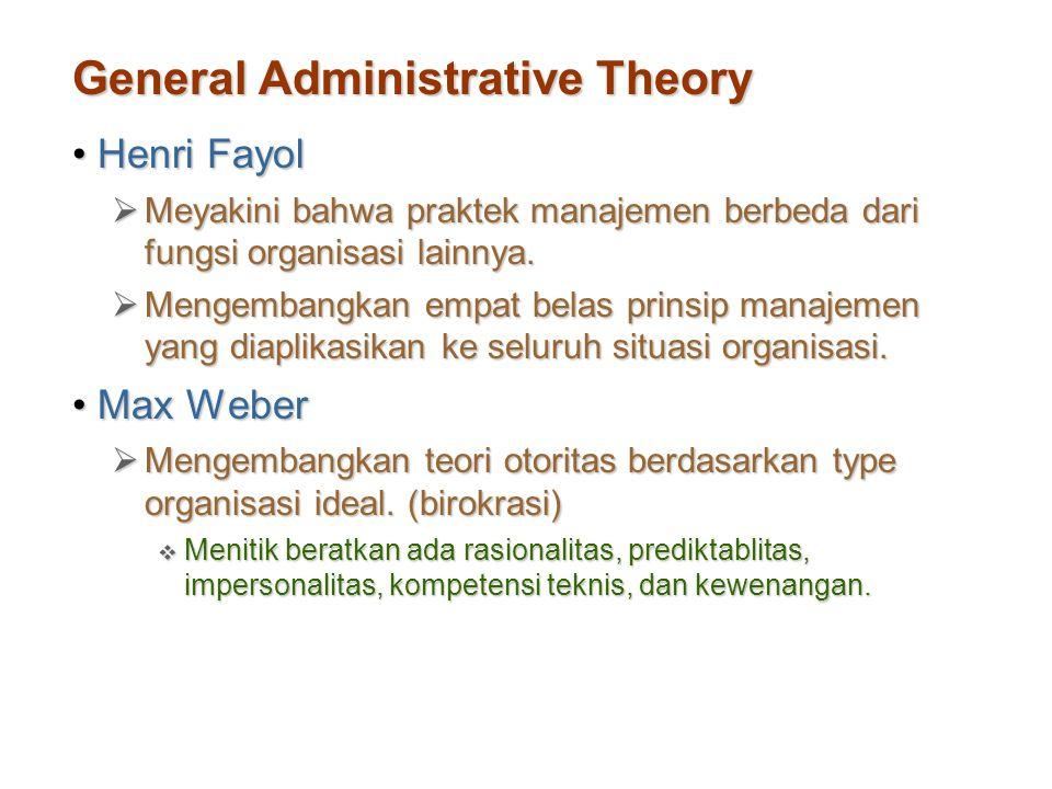 General Administrative Theory Henri FayolHenri Fayol  Meyakini bahwa praktek manajemen berbeda dari fungsi organisasi lainnya.  Mengembangkan empat