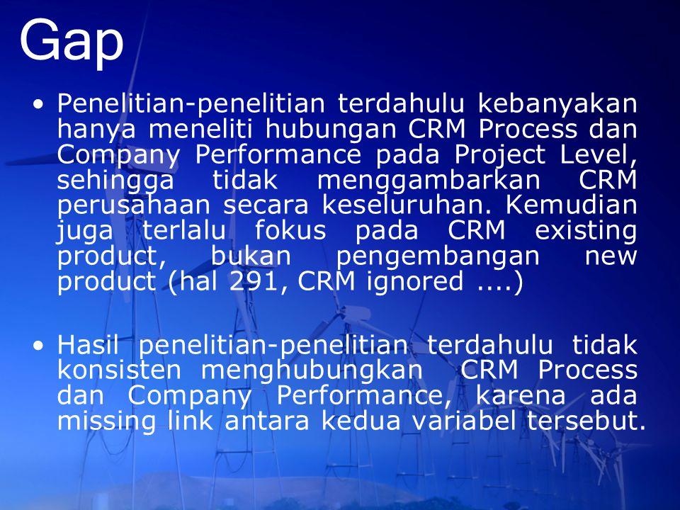 Gap Penelitian-penelitian terdahulu kebanyakan hanya meneliti hubungan CRM Process dan Company Performance pada Project Level, sehingga tidak menggamb