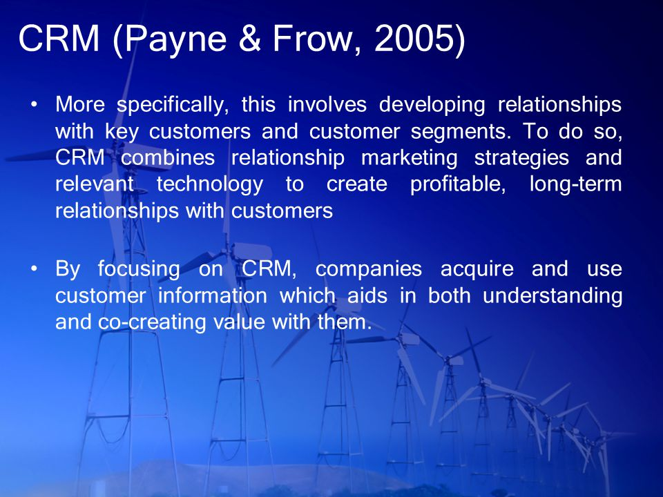 CRM (Patvatiyar & Sheth, 2000) A critical aspect of CRM is that it involves strategic processes that take place between an enterprise and its customers (also Jayachandran, 2005) We therefore develop a strategic CRM framework that focuses on important customer-specific processes, namely identifying customers, differentiating among them, and interacting with them (also Peppers et al, 1999)