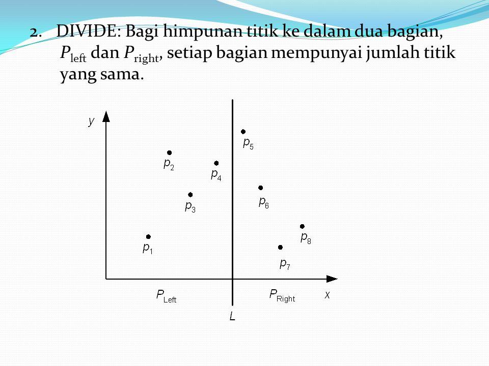 2. DIVIDE: Bagi himpunan titik ke dalam dua bagian, P left dan P right, setiap bagian mempunyai jumlah titik yang sama.