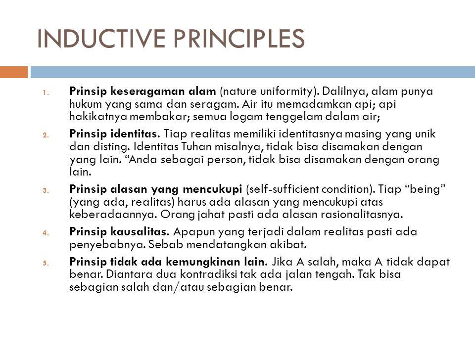 INDUCTIVE PRINCIPLES 1. Prinsip keseragaman alam (nature uniformity). Dalilnya, alam punya hukum yang sama dan seragam. Air itu memadamkan api; api ha