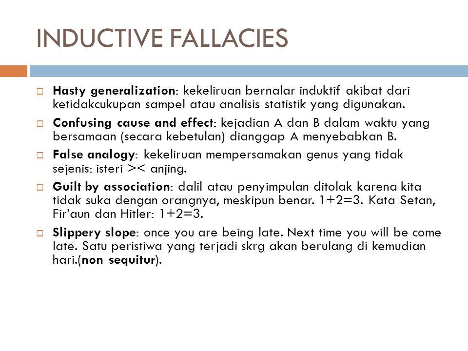 INDUCTIVE FALLACIES  Hasty generalization: kekeliruan bernalar induktif akibat dari ketidakcukupan sampel atau analisis statistik yang digunakan.  C