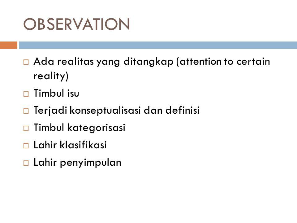 OBSERVATION  Ada realitas yang ditangkap (attention to certain reality)  Timbul isu  Terjadi konseptualisasi dan definisi  Timbul kategorisasi  L