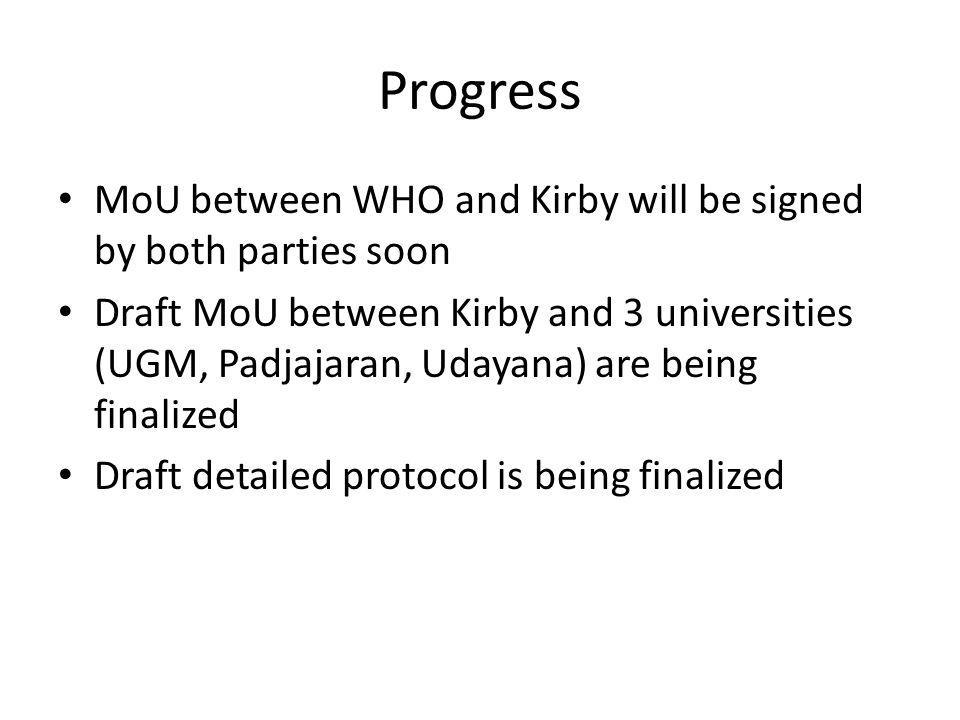 Progress MoU between WHO and Kirby will be signed by both parties soon Draft MoU between Kirby and 3 universities (UGM, Padjajaran, Udayana) are being finalized Draft detailed protocol is being finalized