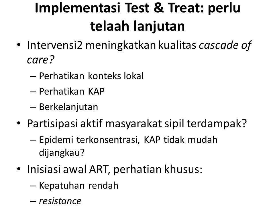 Implementasi Test & Treat: perlu telaah lanjutan Intervensi2 meningkatkan kualitas cascade of care? – Perhatikan konteks lokal – Perhatikan KAP – Berk
