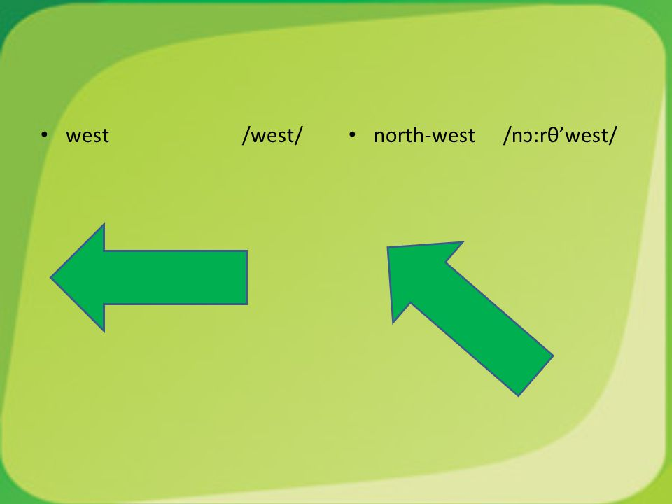 west/west/ north-west /nɔ:rθ'west/