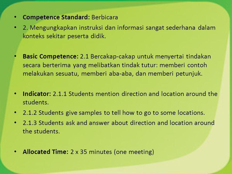 Competence Standard: Berbicara 2. Mengungkapkan instruksi dan informasi sangat sederhana dalam konteks sekitar peserta didik. Basic Competence: 2.1 Be