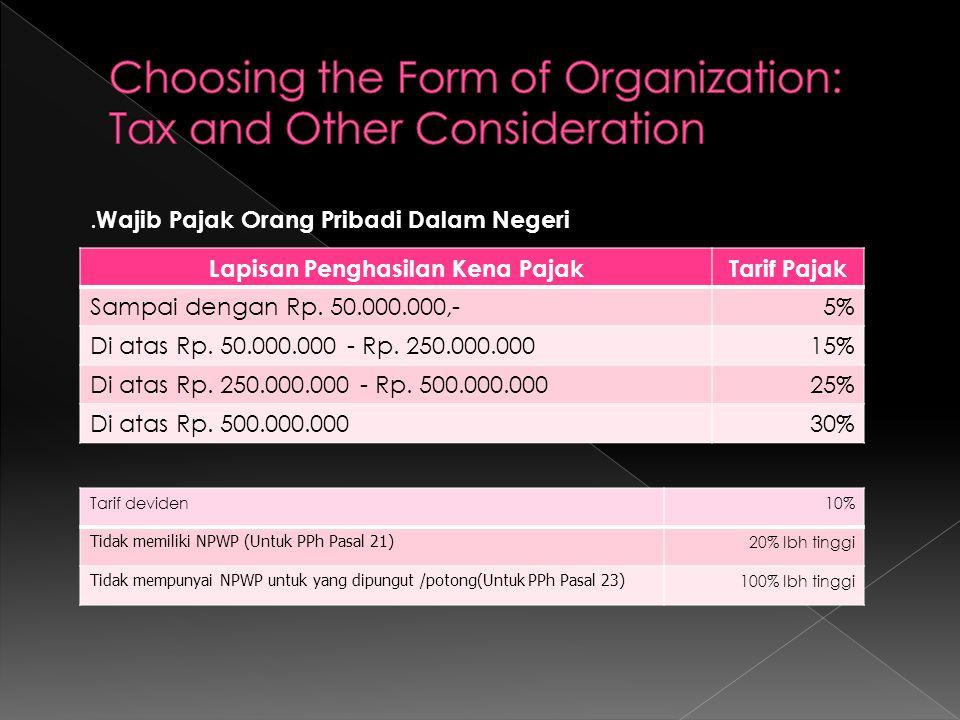 Lapisan Penghasilan Kena PajakTarif Pajak Sampai dengan Rp. 50.000.000,-5% Di atas Rp. 50.000.000 - Rp. 250.000.00015% Di atas Rp. 250.000.000 - Rp. 5