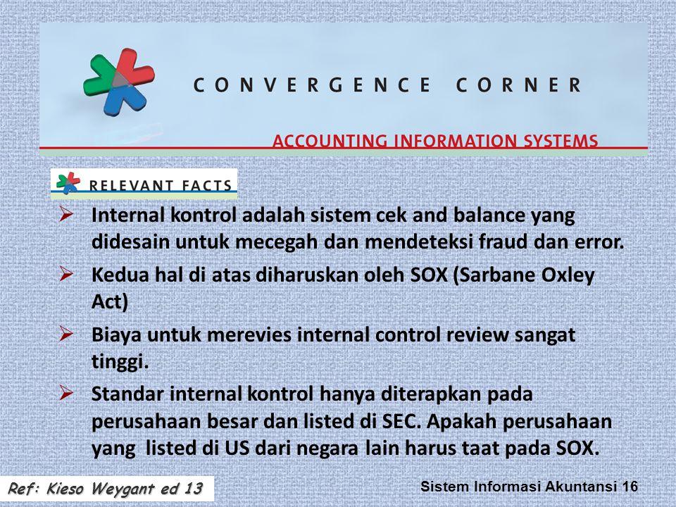 Sistem Informasi Akuntansi 16  Internal kontrol adalah sistem cek and balance yang didesain untuk mecegah dan mendeteksi fraud dan error.  Kedua hal