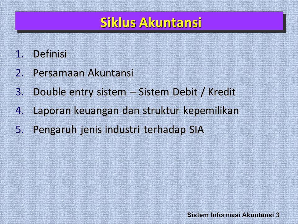 Sistem Informasi Akuntansi 3 1.Definisi 2.Persamaan Akuntansi 3.Double entry sistem – Sistem Debit / Kredit 4.Laporan keuangan dan struktur kepemilikan 5.Pengaruh jenis industri terhadap SIA Siklus Akuntansi