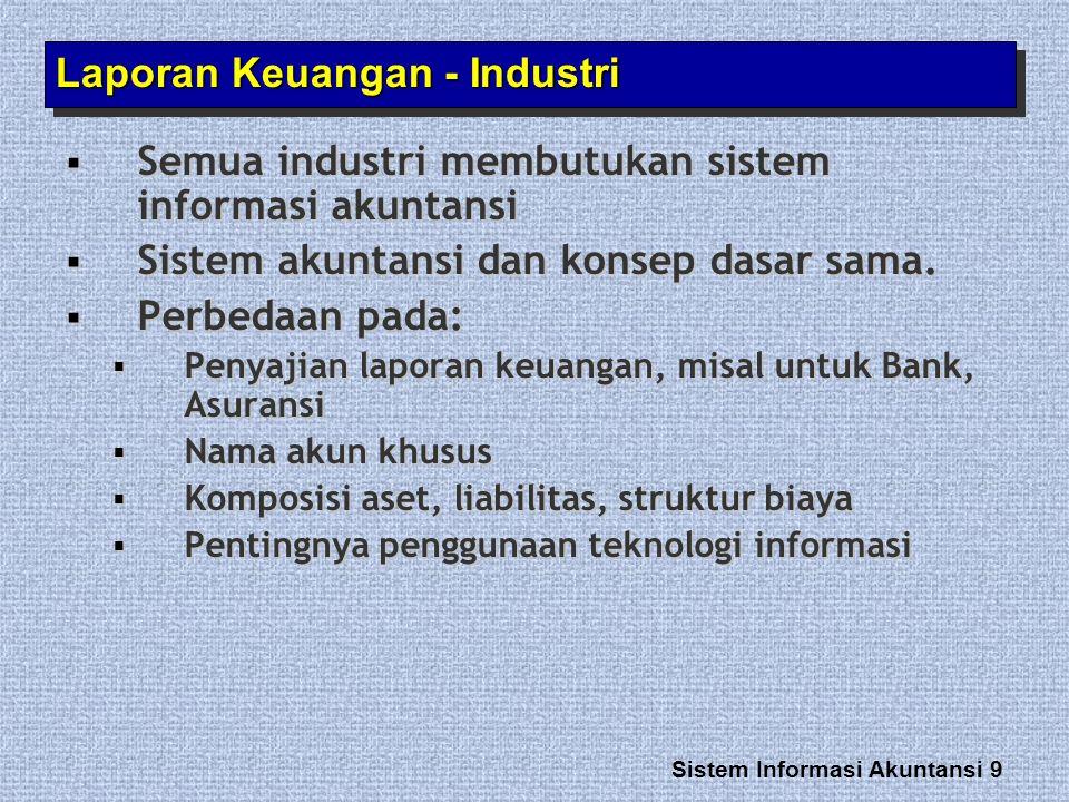 Sistem Informasi Akuntansi 9 Laporan Keuangan - Industri  Semua industri membutukan sistem informasi akuntansi  Sistem akuntansi dan konsep dasar sa