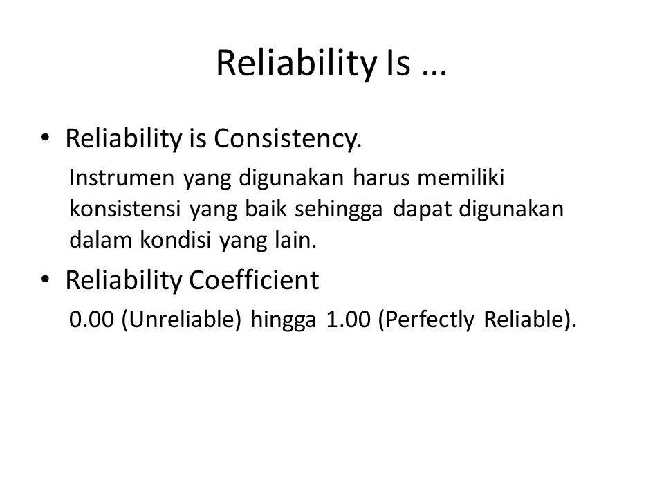 Reliability Test Test – Retest Reliability Pengukuran dilakukan dua kali, berapapun jarak waktu yang ada di antara keduanya.