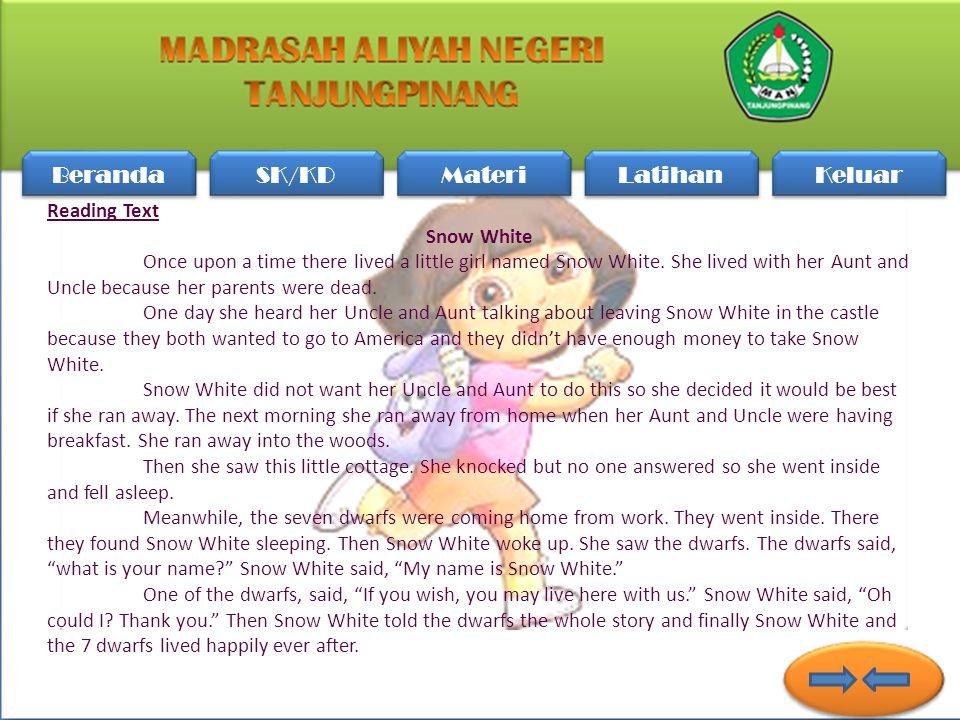 2.At Last, the farmer was... rich happy poor fool sad A E D C B Beranda SK/KD Materi Latihan Keluar