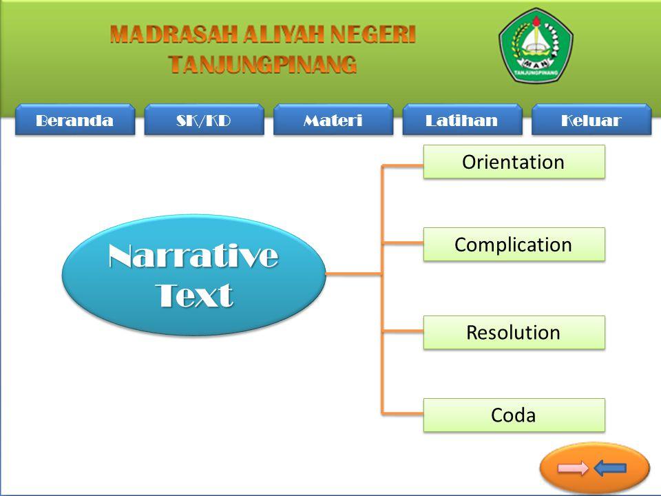 Beranda SK/KD Materi Latihan Keluar Orientation Complication Coda Resolution Narrative Text