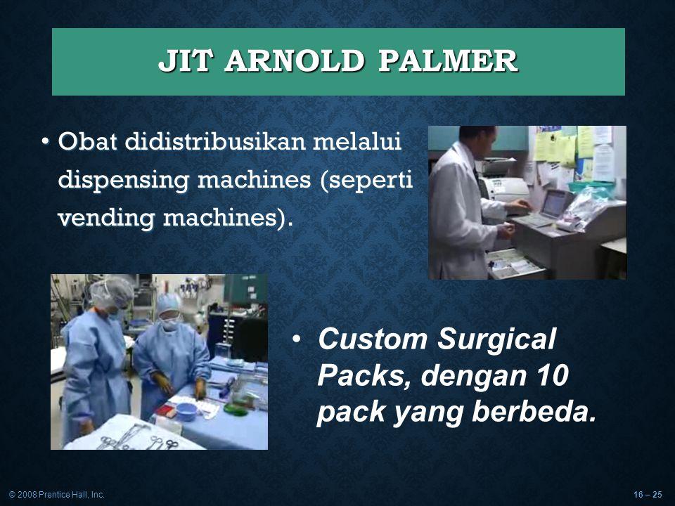 © 2008 Prentice Hall, Inc.16 – 25 JIT ARNOLD PALMER Obat didistribusikan melalui dispensing machines (seperti vending machines). Obat didistribusikan