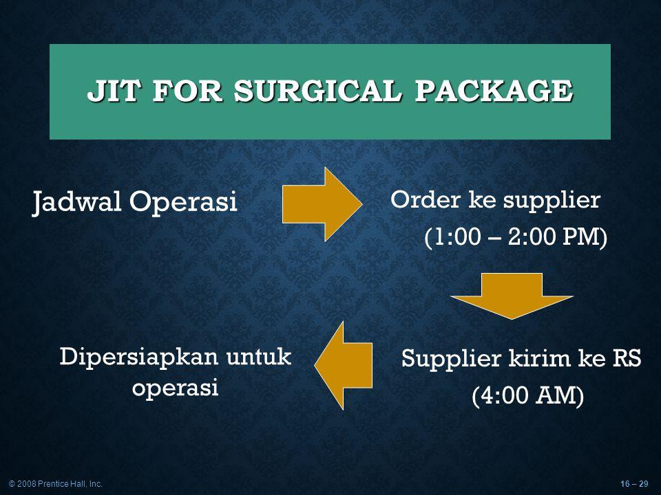 © 2008 Prentice Hall, Inc.16 – 29 JIT FOR SURGICAL PACKAGE Jadwal Operasi Order ke supplier (1:00 – 2:00 PM) Supplier kirim ke RS (4:00 AM) Dipersiapk