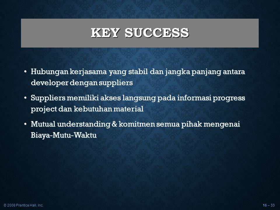 © 2008 Prentice Hall, Inc.16 – 33 KEY SUCCESS Hubungan kerjasama yang stabil dan jangka panjang antara developer dengan suppliers Hubungan kerjasama y