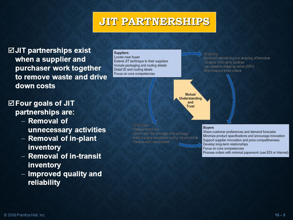 © 2008 Prentice Hall, Inc.16 – 9 JIT PARTNERSHIPS  JIT partnerships exist when a supplier and purchaser work together to remove waste and drive down costs  Four goals of JIT partnerships are:  Removal of unnecessary activities  Removal of in-plant inventory  Removal of in-transit inventory  Improved quality and reliability