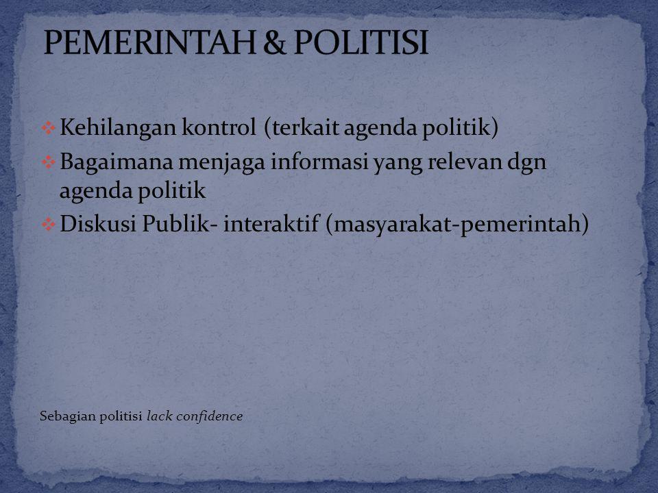  Kehilangan kontrol (terkait agenda politik)  Bagaimana menjaga informasi yang relevan dgn agenda politik  Diskusi Publik- interaktif (masyarakat-pemerintah) Sebagian politisi lack confidence
