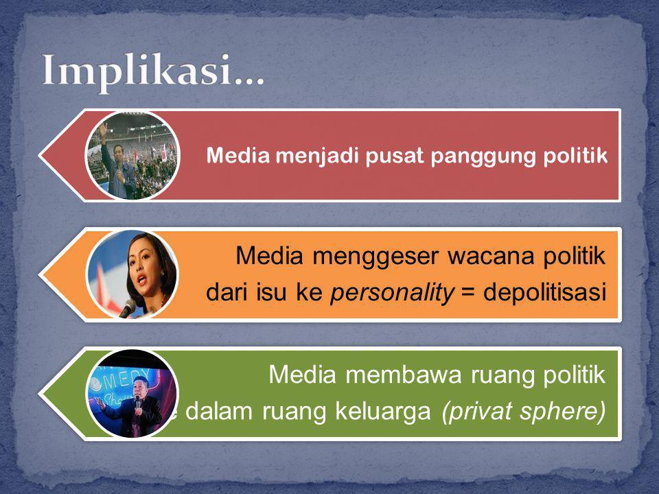 Media menjadi pusat panggung politik Media menggeser wacana politik dari isu ke personality = depolitisasi Media membawa ruang politik ke dalam ruang keluarga (privat sphere)