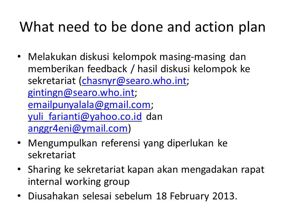 What need to be done and action plan Melakukan diskusi kelompok masing-masing dan memberikan feedback / hasil diskusi kelompok ke sekretariat (chasnyr