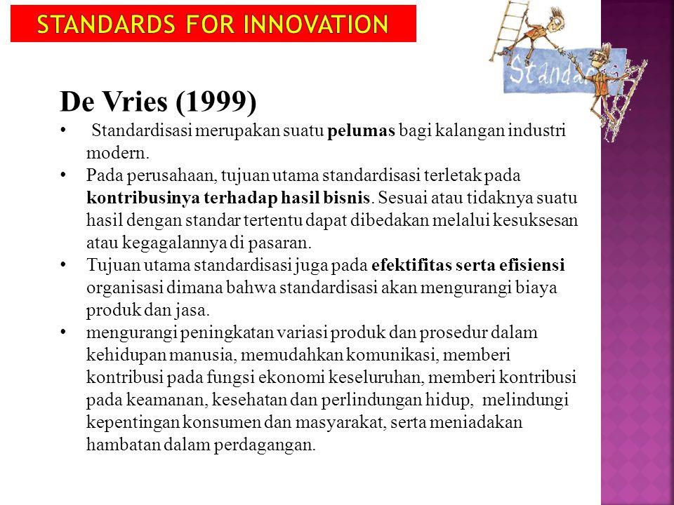 De Vries (1999) Standardisasi merupakan suatu pelumas bagi kalangan industri modern. Pada perusahaan, tujuan utama standardisasi terletak pada kontrib