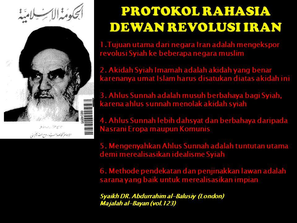 1.Tujuan utama dari negara Iran adalah mengekspor revolusi Syiah ke beberapa negara muslim 2. Akidah Syiah Imamah adalah akidah yang benar karenanya u
