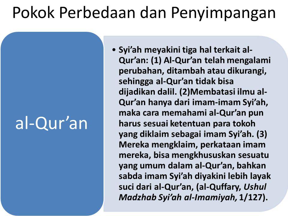 Pokok Perbedaan dan Penyimpangan Syi'ah meyakini tiga hal terkait al-Qur'an: (1) Al-Qur'an telah mengalami perubahan, ditambah atau dikurangi, sehingg